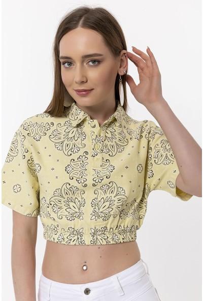 Coral Çiçek Desenli Bluz Sarı