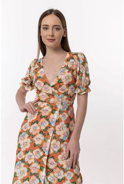Coral Çiçekli Bağlamalı Elbise Orange