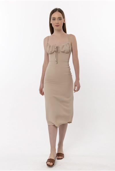 Coral Ip Askılı Yırtmaçlı Elbise Vizon
