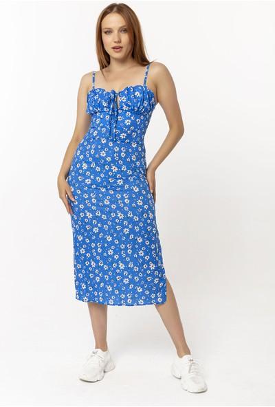 Coral Papatya Desenli Elbise Mavi