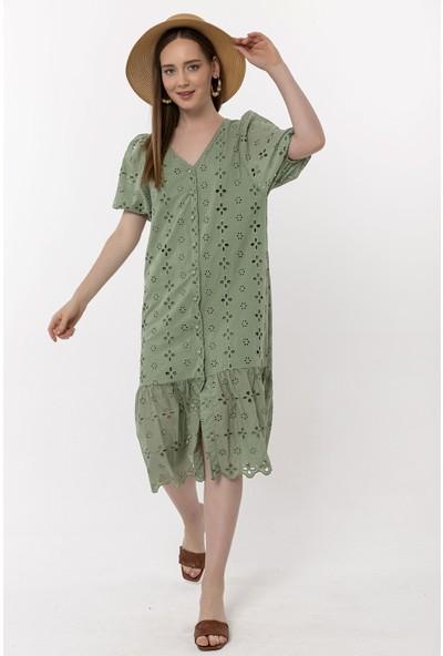 Coral Lazer Nakışlı Düğmeli Elbise Çağla Yeşili