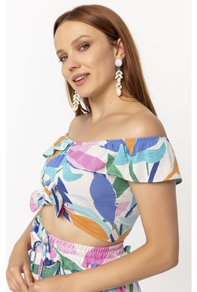 Coral Çiçek Desenli Bluz Bej