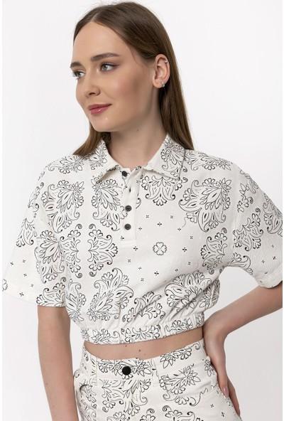 Coral Çiçek Desenli Bluz Lila