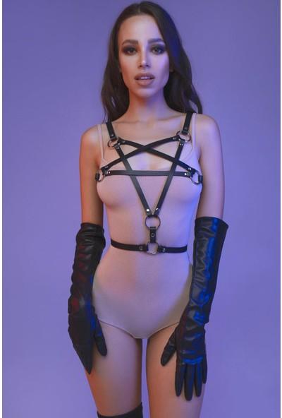 Pamuktenim Yıldız Tasarımlı Şık Deri Fantazi Harness 1147 Siyah
