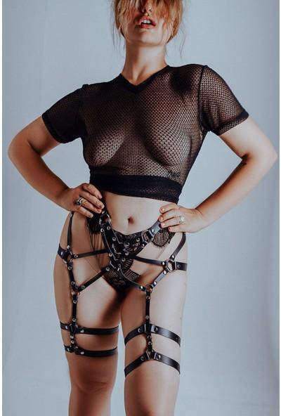 Pamuktenim Siyah Deri Jartiyer Özel Tasarım Fantazi Harness 1011