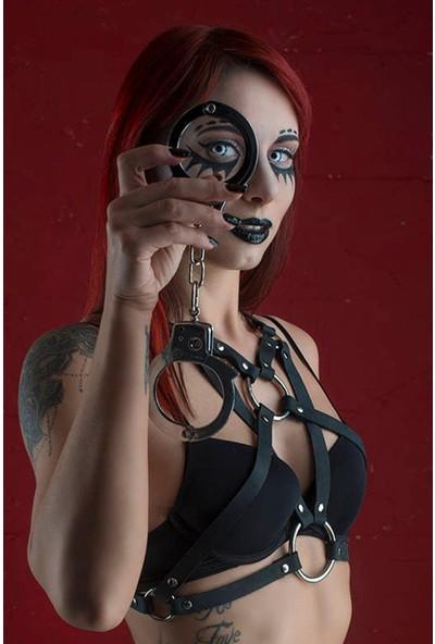 Pamuktenim Siyah Deri Göğsü Açık Özel Tasarım Fantazi Harness Sütyen 1021