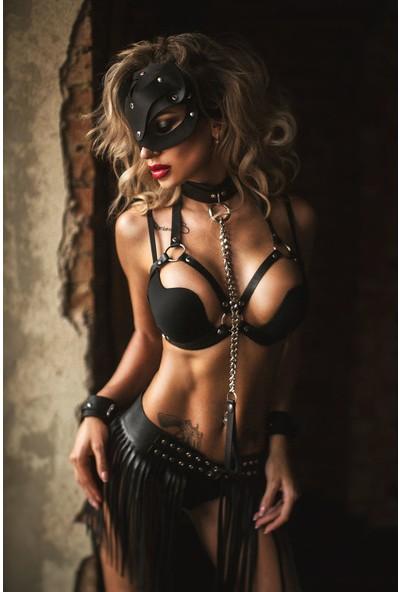 Pamuktenim Maskeli Özel Tasarım Fantazi Deri Harness Kostüm 1155 Siyah
