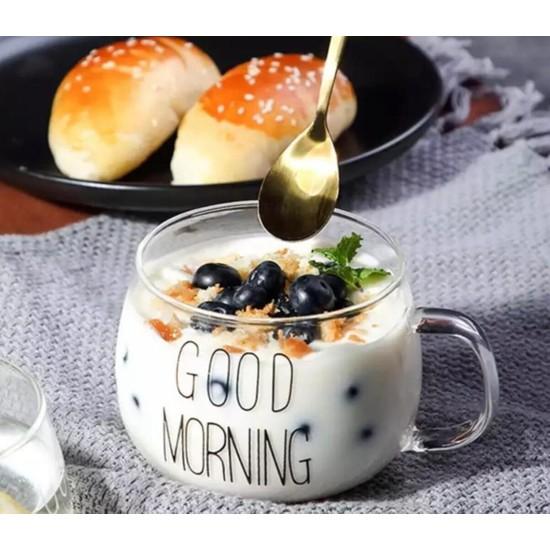 Good Morning 400ML Borosilikat Cam Kupa Bardak 1 Adet