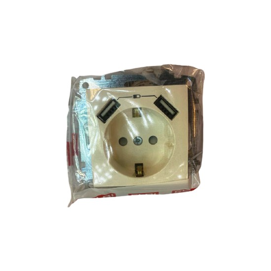 Elbi USB Tlf Şarzlı Topraklı Priz Beyaz Çerçeve Dahil