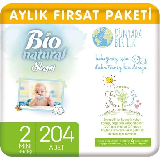 Sleepy Bio Natural Aylık Fırsat Paketi Bebek Bezi 2 Numara Mini 204'lü