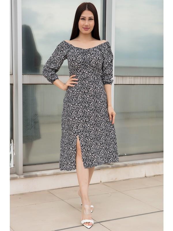 Kalopya Bayan Göğüsü Bağcıklı Şifon Elbise 54115