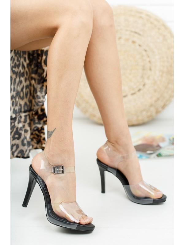 Venüs Siyah Cilt Şeffaf Ince Kadın Topuklu Ayakkabı Harlen
