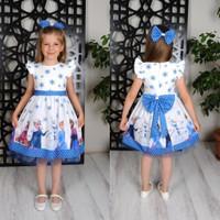 Neşeli Bebek Kız Çocuk Beyaz Karlar Ülkesi Elsa Prenses Elbisesi