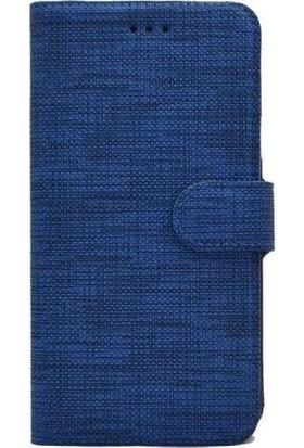 Milat Samsung Galaxy A01 Kapaklı Cüzdan Kılıf Kumaş Lacivert