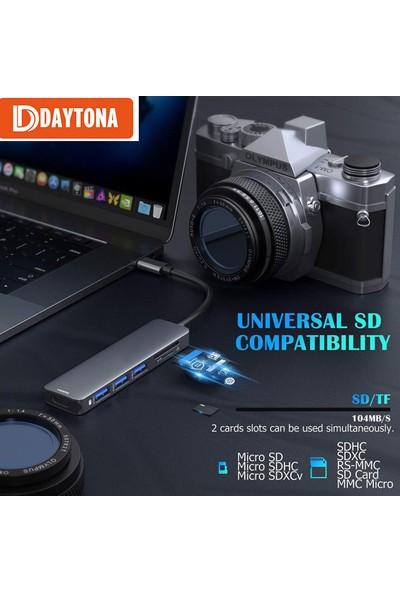 Daytona Airsky Hc-13 Type-C To 3*usb 3.0 4K Ultra Hd HDMI Sd Tf Kart Girişli 6ın1 Çevirici Hub Adaptör