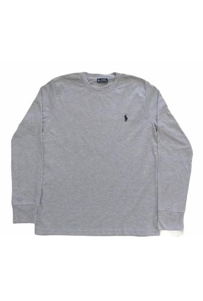 Polo Erkek Sıfır Yakalı Uzun Kollu Gri Mevsimlik Sweatshirt Esy-Pl