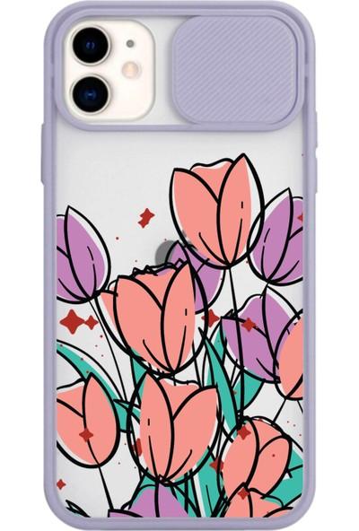 Gaga Apple iPhone 11 Slayt Kamera Lens Korumalı Çiçek Tasarımlı Telefon Kılıfı