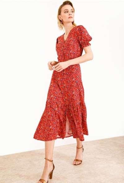 Ekol Kadın Kısa Kol Desenli Elbise 6055010 Mercan