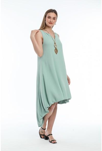 Wind Kadın Aerobin Kumaşlı Kalın Askılı Önü Kısa Arkası Uzun Elbise Su Yeşili