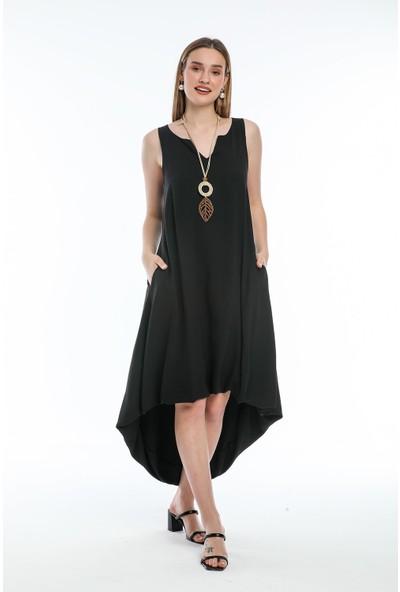 Wind Kadın Aerobin Kumaşlı Kalın Askılı Önü Kısa Arkası Uzun Elbise Siyah