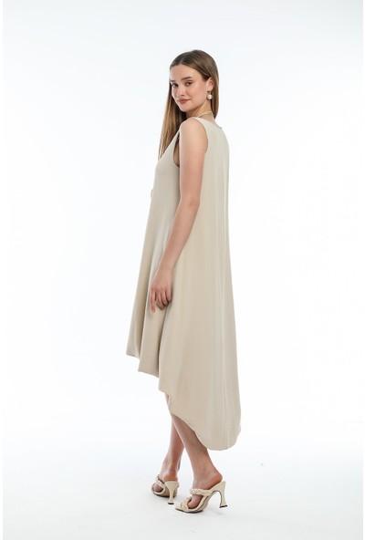 Wind Kadın Aerobin Kumaşlı Kalın Askılı Önü Kısa Arkası Uzun Elbise Ten