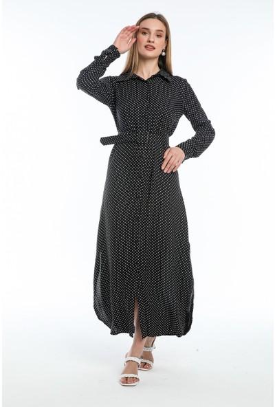 Wind Kadın Boydan Düğmeli Kemerli Yandan Yırtmaçlı Siyah Puantiyeli Elbise