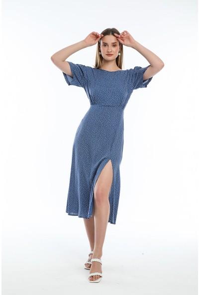 Wind Kadın Belden Lastikli Yandan Yırtmaçlı Mavi Renkli Elbise