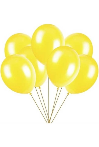 Balon Evi Metalik Sarı Balon 12 Inç 10 Adet