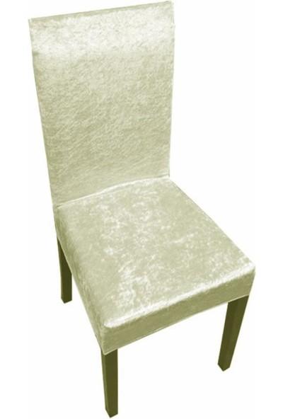Sandalye Kılıfı Kadife Kırçıllı Krem 6 Adet