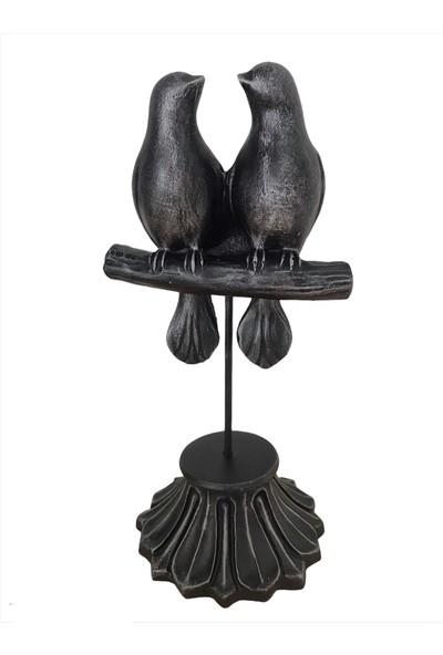 Luxury Dalda Kuşlar Biblo Gümüş Renk