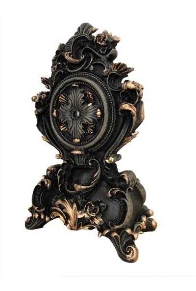 Luxury Altın Eskitmeli Dekoratif Siyah Masa Saati