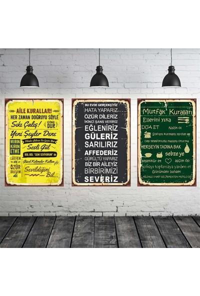 Yoktayok Aile ve Mutfak Kuralları Temalı 3 Adet 20-30 cm Mdf Tablo Seti