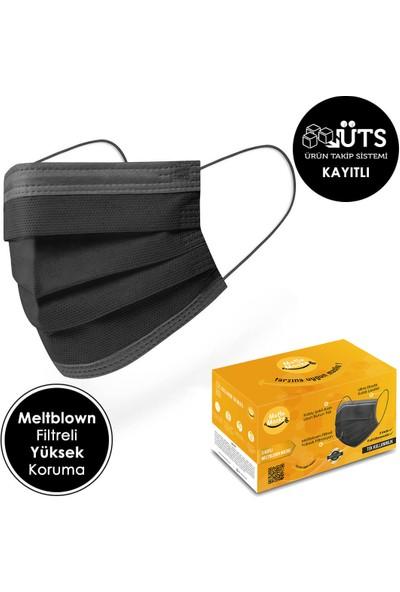 Mutlu Maske 100'lü Meltblown Filtreli Yumuşak Lastikli Gri Şeritli Siyah Renkli Cerrahi Maske
