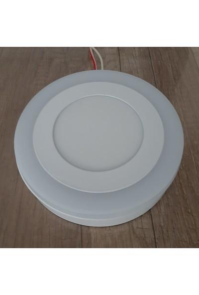 Çift Renkli 6 Watt (3+3) LED Panel Sıva Üstü Yuvarlak Spot Armatür 6500K Beyaz Işık