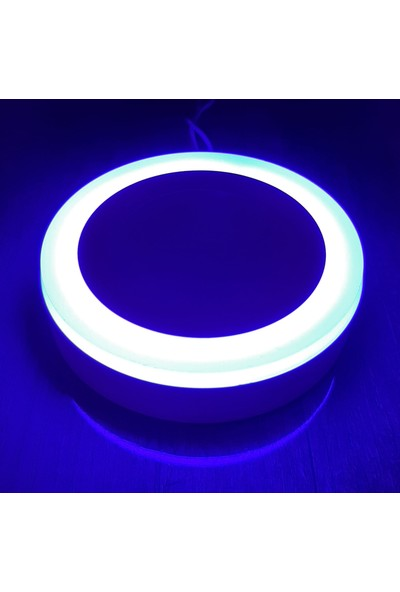 Çift Renkli 9 Watt (6+3) LED Panel Sıva Üstü Yuvarlak Spot Armatür 6500K Mavi-Kırmızı
