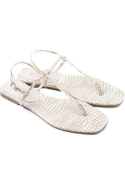 Giuseppe Mengoni Siyah Kadın Sandalet MX-M.21291 Zs -R104 Giuseppe Mengoni Bej Parlak Rugan Kroko