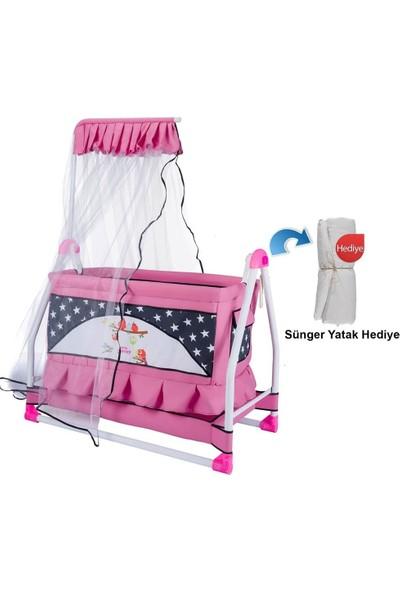 Convers Yıldızlı Çıtır Cibinlikli Portatif Sallanır Bebek Beşiği(Yatak Hediyeli)