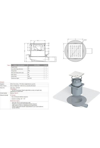 MaxiFlow Izoleli Fileli Paslanmaz Yer Sifonu Yükseklik Ayarlı Süzgeç 10*10 Q50