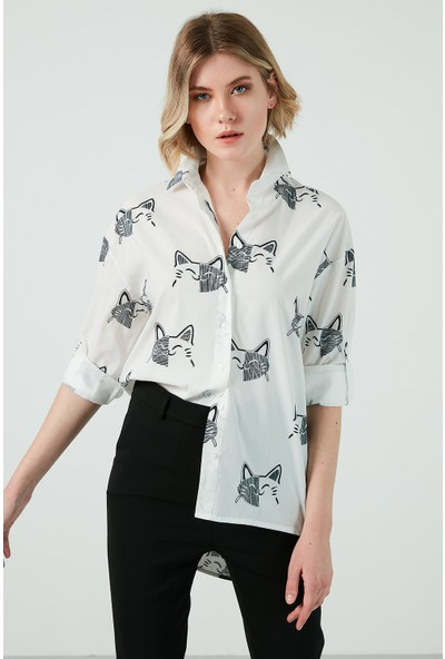 Ayhan Baskılı Düz Yaka Gömlek Bayan Gömlek 04650524