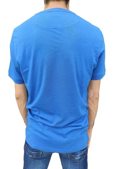 Fit and Size Erkek Düz Renk Yuvarlak Yaka Kısa Kollu Panda Nakışlı Bambu T-Shirt