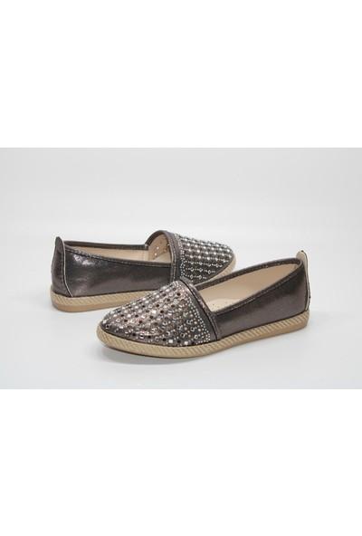Enesse Kauçuk Sargı Taban Yüzü Taşlı Bağsız Günlük Babet Ayakkabı
