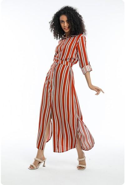 Wind Kadın Boydan Düğmeli Kemerli Yandan Yırtmaçlı Kiremit Rengi Çizgili Elbise