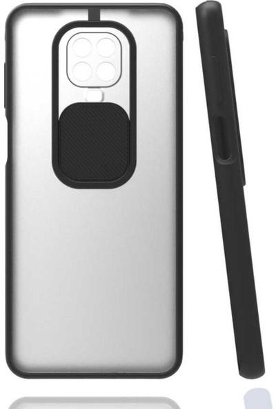 Semers Xiaomi Redmi Note 9 Pro Kılıf Kamera Korumalı Slayt Sürgülü Renkli Kenarlı Mat Şeffaf Sert Silikon Siyah