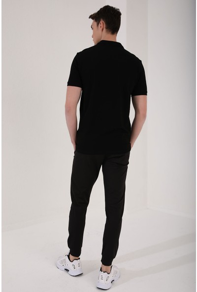 Tommy Life Siyah Erkek Eskitme Yazı Baskılı Standart Kalıp Polo Yaka T-Shirt - 87929