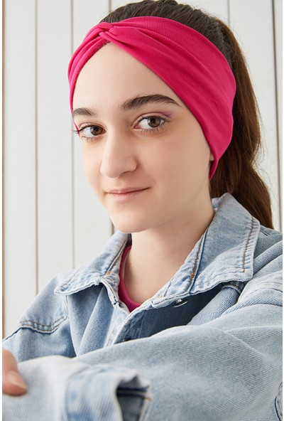 Babygiz Gözalıcı Fuşya Çocuk Genç Bandana Saç Bandı Ekstra Yumuşak Esnek Doğal %100 Pamuklu Penye