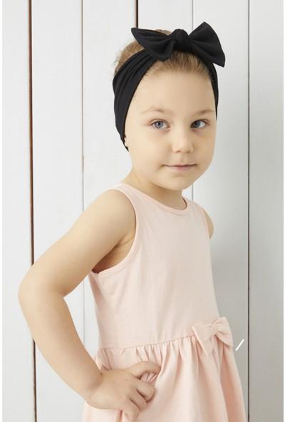 Babygiz El Yapımı Yumuşak Fiyonk Bağlamalı Doğal Pamuklu Penye 2'li Bebek Çocuk Kız Bandana Turuncu Mavi