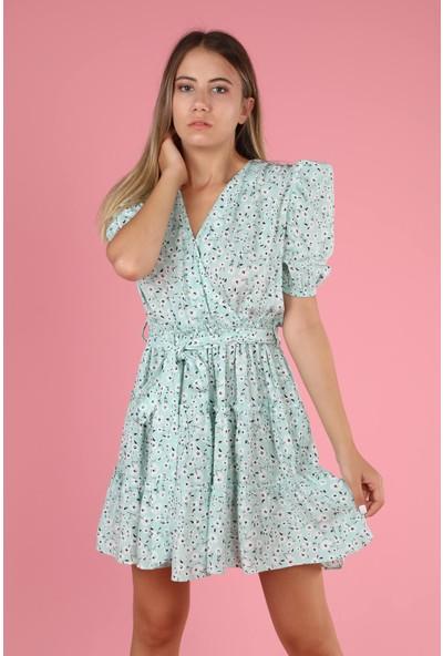 Senin Olsun Su Yeşili Kruvaze Yaka Çiçekli Elbise