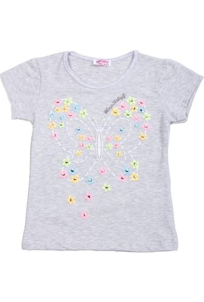 Whoops Nanu Gri Melanj Kız Çocuk Kelebek Detarlı Incili Tişört