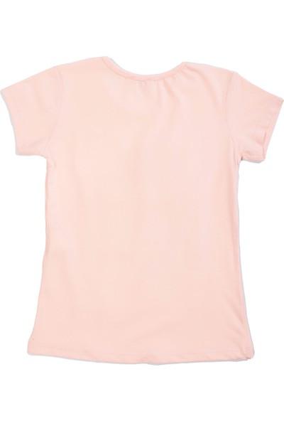 Whoops Nanu Pembe Kız Çocuk Pullu Kalp Nakışlı Love Yazılı Tişört