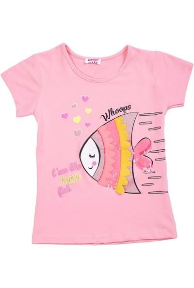 Whoops Nanu Pembe Kız Çocuk Balık Baskılı Aplikeli Tişört